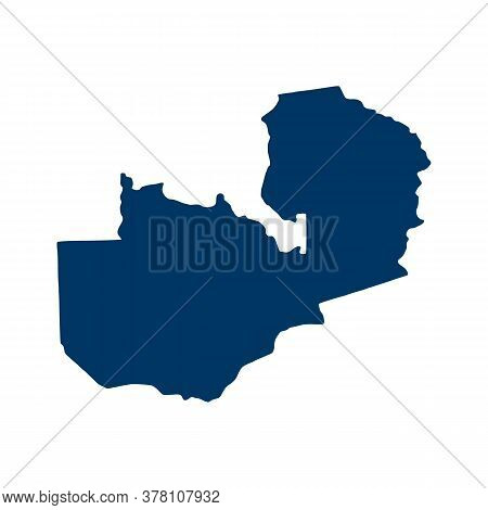 Outline Map Of Zambia. Isolated Vector Illustration. Easy To Edit
