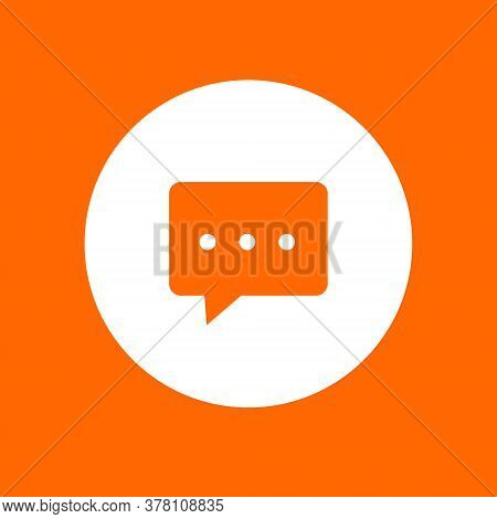 Dialogue Icon Sign. In White Circle On A Orange Background. Vector Illustration