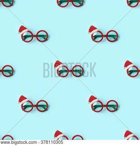 Glasses Santa's Christmas On Blue, Seamless Pattern, Print Shop, Ornament For Packageing Paper, Masq