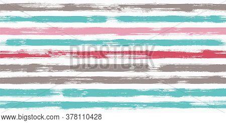 Tartan Watercolor Brush Stripes Seamless Pattern. Ink Paintbrush Lines Horizontal Seamless Texture F