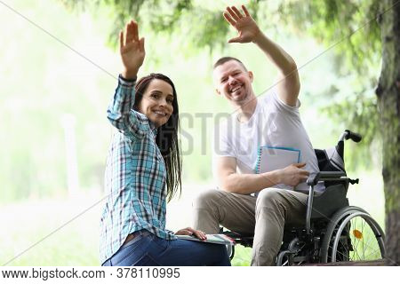 Individual Training Under Special Program For People With Disabilities. Cheerful Disabled Man Sit In