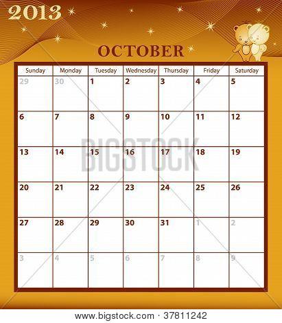 Calendar 2013 October