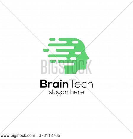 Head Human Smart Technology Logo Vector, Brain Human Artificial Logo Type, Icon Vector, Smart Tech L