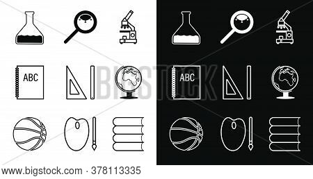 Set Of Icons. Back To School September 1st. School Items. Microscope, Globe, Test Tube, Magnifier Wi