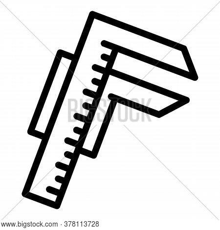 Carpenter Caliper Icon. Outline Carpenter Caliper Vector Icon For Web Design Isolated On White Backg