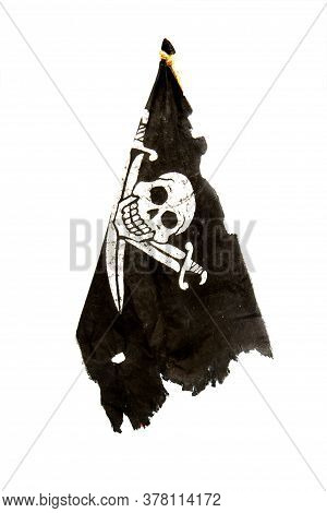 Torn And Shabby Black Pirate Flag Jolly Roger Isolated On White Background