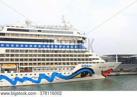 Venice - October 12:  A View Of The Bow Of Cruise Ship Aidablu In The Port Of Venice, Italy On Octob