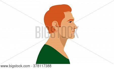 Redhead Man. A Young, Attractive Man. Portrait Side View. Modern Illustration Of A Father, Brother,