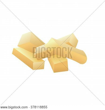 Potato Cutted Sticks Icon. Cartoon Of Potato Cutted Sticks Vector Icon For Web Design Isolated On Wh