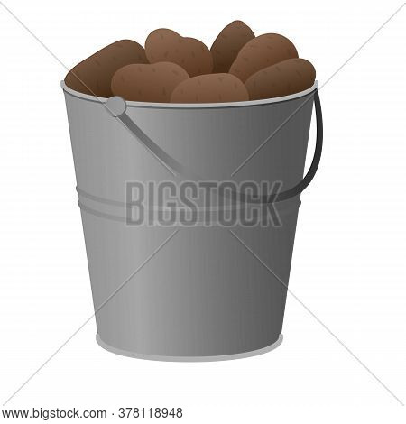 Full Potato Bucket Icon. Cartoon Of Full Potato Bucket Vector Icon For Web Design Isolated On White