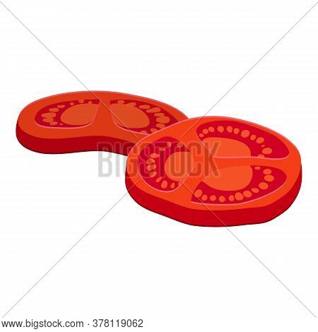 Burger Cutted Tomato Icon. Cartoon Of Burger Cutted Tomato Vector Icon For Web Design Isolated On Wh