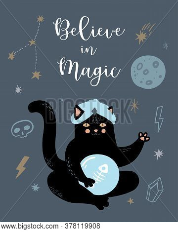 Funny Vector Magic Card. Witchcraft And Occultism Symbols: Black Cat, Skull,  Moon, Crystals, Stars.