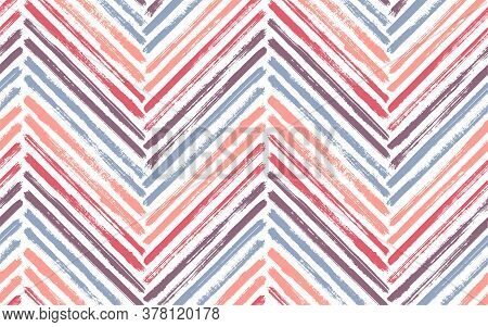 Scribble Chevron Fashion Print Vector Seamless Pattern. Ink Brushstrokes Geometric Stripes. Hand Dra