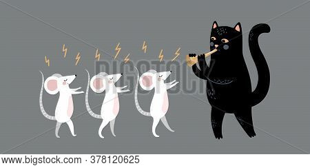 The Mouse Whisperer. Mouse Charmer. The Cat Plays A Pipe. Funny Magic Vector Illustration. Enchanted