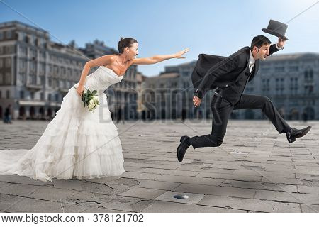 Woman Tries To Reach Her Man Who Want To Escape Fast From Marriage