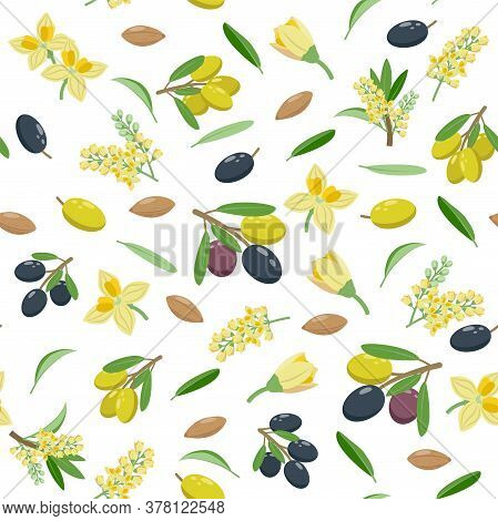 Olives Seamless Pattern In Flat Design, Set Of Vector Illustrations Isolated On White Background. Ol