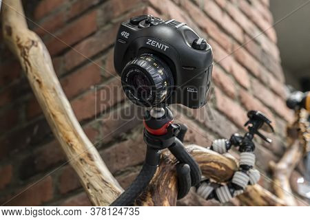 Krasnoyarsk, Russia, June 20, 2020: Zenit Dx System 412 Russian Gorillapod Film Camera