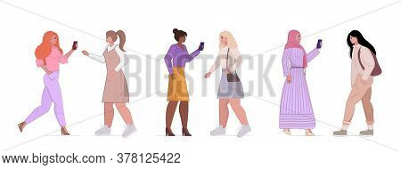 Set  Mix Race Woman In Casual Trendy Clothes Female Cartoon Character Standing Pose View Full Length