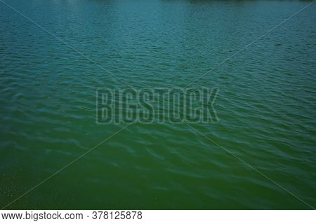 Surface And Texture Of Water In Small Lake . Background Of The Surface Of The Water . Pattern Water