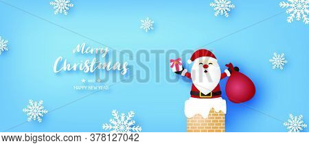 Merry Christmas And Happy New Year Banner With Santa Claus And Snowflakes On Blue Background.
