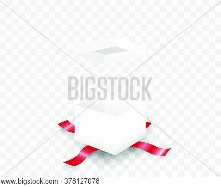 Open White Gift Box And Red Ribbon Isolated On Background.