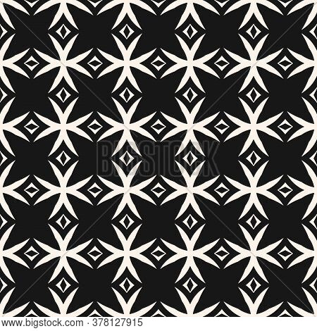 Monochrome Vector Seamless Pattern. Simple Black And White Geometric Background Texture With Crosses