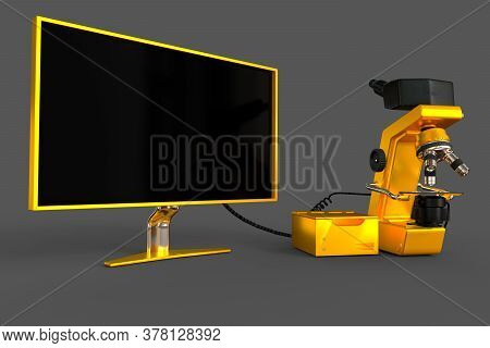 Golden Scientific Microscope, Cpu Block And Blank Screen Isolated, Realistic Medical 3d Illustration