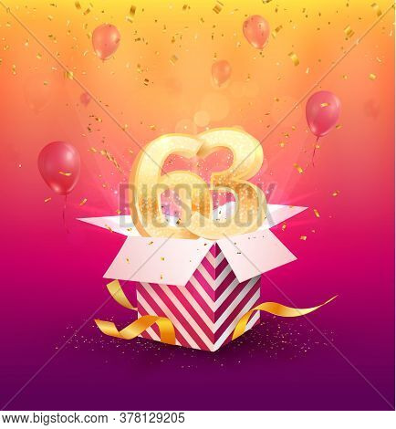 63rd Years Anniversary Vector Design Element. Isolated Sixty-three Years Jubilee With Gift Box, Ball