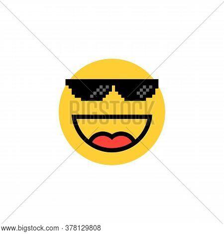 Laughing Emoji With Pixelart Glasses. Flat Cartoon Trend Minimal 8bit Expression Logotype Graphic De