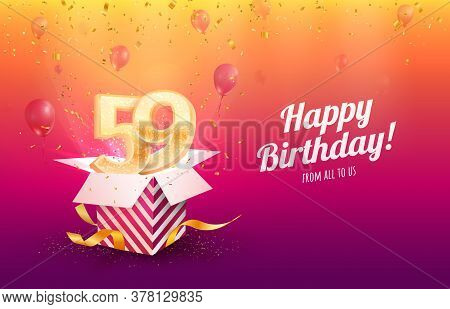 Celebrating 59th Years Birthday Vector Illustration. Fifty-nine Anniversary Celebration Background.