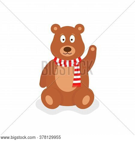 Cartoon Teddy Bear With Red Scarf. Concept Of Soft Doll For Sale In A Toy Store Or Toyshop And Fluff