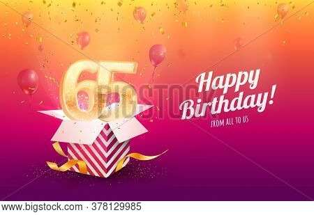 Celebrating 65th Years Birthday Vector Illustration. Sixty-five Anniversary Celebration Background.