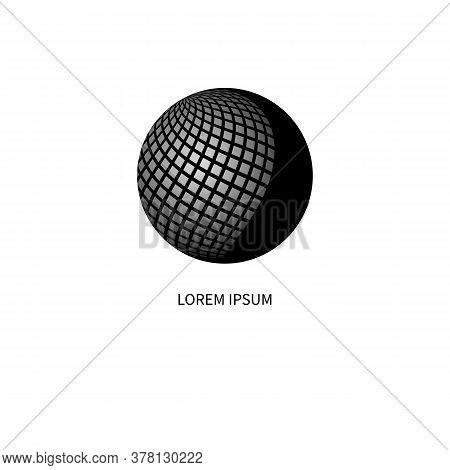 Communication Logo, Networking Icon With Blak Sphere, Business Logo, Telecommunications Symbol
