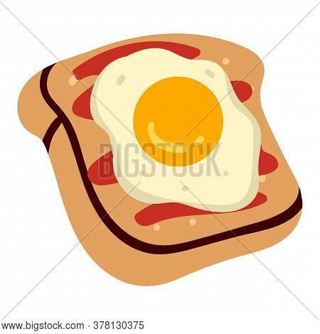Sandwich Or Crispy Toast With Fried Egg And Sauce