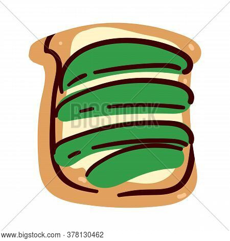 Sandwich Of Bread, Butter And Avocado Slices Vector