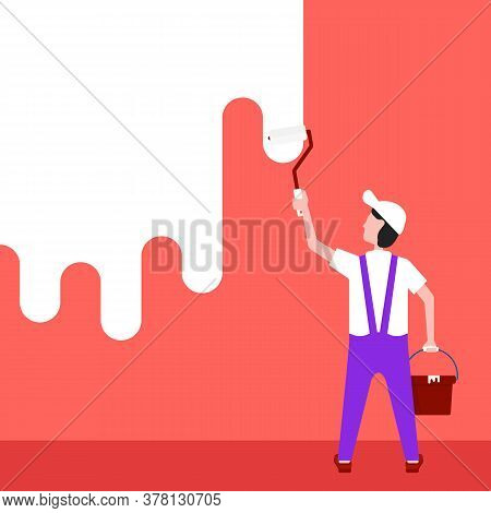 Painter Paints The Wall In Home. Concept Of Renovate House By Workman For Restoration Room Or Office