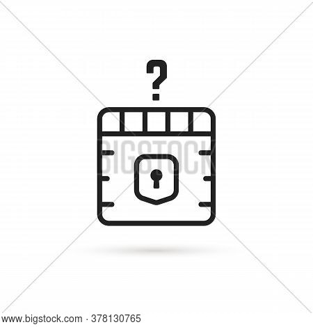 Question Box Black Thin Line Icon. Concept Of Mmorpg Game Item For Micro Payments And Simple Quest B