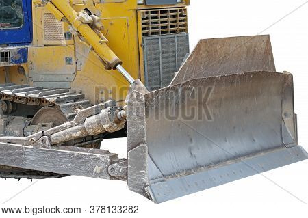 Yellow Excavator Bulldozer With Caterpillar On White Background