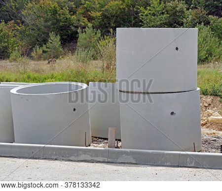 Top Part Of Concrete Water Wells On Construction Site