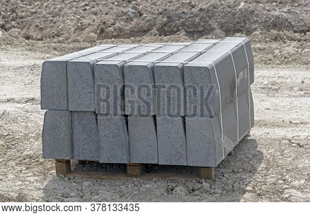 Tile Blocks On Pallets Lie Next To Each Other On Construction Sites