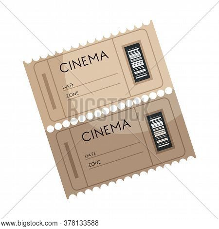 Cinema Tickets Vector Illustration. Cartoon Movie Theater Admission Isolated Clipart On White Backgr