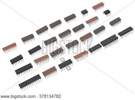 Digital Electronic Components, Integrated Circuits Isolated On White Background