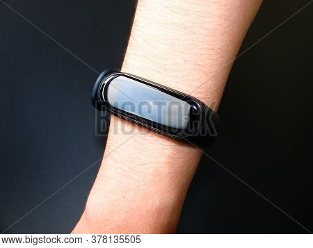Saint-Petersburg, Russia - july, 26, 2020: photo of smartwatch Mi smart band 4, Xiaomi.
