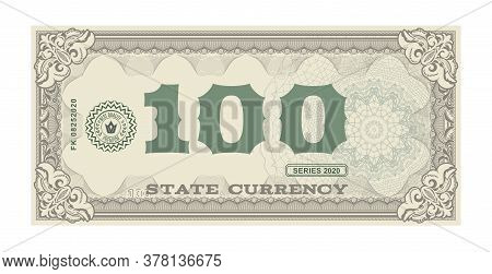 Vector Money Banknotes. Fake Money Illustration With Floral Border. Classical Vintage Style. Back Si