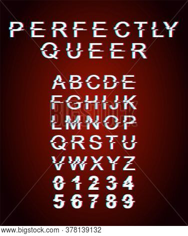 Perfectly Queer Font Template. Retro Futuristic Style Vector Alphabet Set On Red Background. Capital