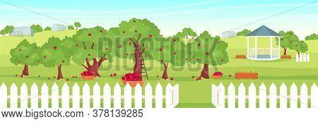 Apple Orchard Flat Color Vector Illustration. Empty Fruit Garden 2d Cartoon Landscape With Gazebo On