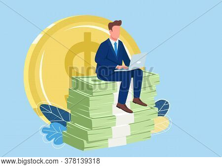 Successful Employee Sitting On Pile Of Money Flat Concept Vector Illustration. Person Earning Money