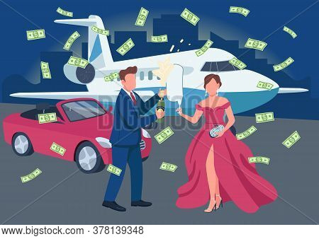 Wealthy Couple Opening Champagne Bottle Flat Color Vector Illustration. Money Flying Around. Rich Pe