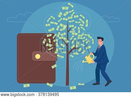 Businessman Watering Money Tree Flat Concept Vector Illustration. Financial Success. Successful Man