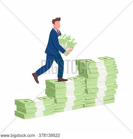 Man Climbing Money Stairs Flat Concept Vector Illustration. Successful Businessman Walking Up On Cas